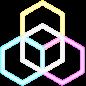 logo 3 hexagone aux couleurs primaires fusionnent en un cube